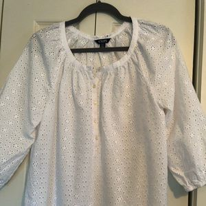Chaps, Women's white eyelet pullover.